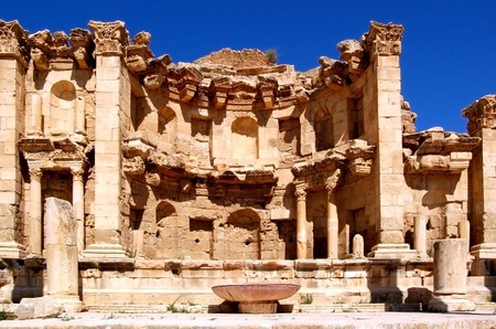 referred: Ancient Jerash - Jordan. Jerash is known for the ruins of the Greco-Roman city of Gerasa, also referred to as Antioch on the Golden River. It is sometimes misleadingly referred to as the Pompeii of the Middle East or Asia,  Stock Photo