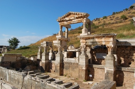 Antique city of Ephesus, Turkey. Ephesus was an ancient Greek city on the west coast of Anatolia, in the region known as Ionia during the Classical Greek period. It was one of the twelve cities of the Ionian League.  photo