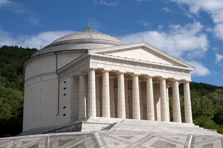 funded: Canova Temple - Possagno, Italy. The temple is a neo-classical building, designed and funded by Canova. Stock Photo