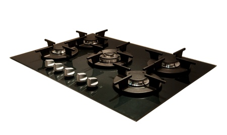 Design: modern gas hob, Isolated on white background photo