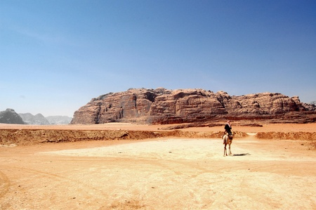 A panorama of Wadi Rum. Wadi Rum is a valley cut into the sandstone and granite rock in southwest Jordan. It is the largest wadi in Jordan. The name Rum most likely comes from an Aramaic root meaning Stock Photo - 10486141