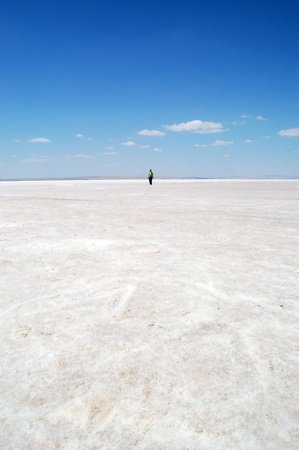 evaporate: Salt lake in Konya, Turkey