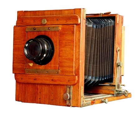 Vintage - Old wooden photo camera, isolated Stock Photo - 10481216