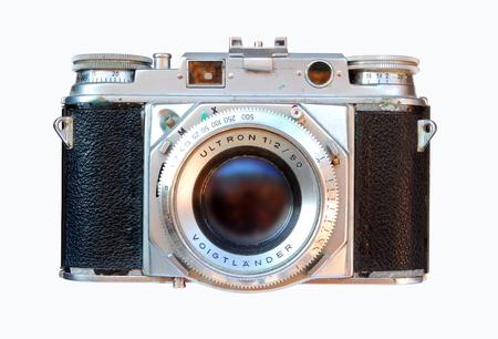 Vintage - Old analogic photo camera on white background