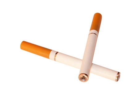 e cigarette: An electronic cigarette, also known as an e-cigarette or personal vaporizer, is a battery-powered device that provides inhaled doses of nicotine  by way of a vaporized solution. It is an alternative to smoked tobacco products.