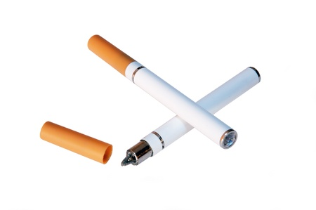 An electronic cigarette, also known as an e-cigarette or personal vaporizer, is a battery-powered device that provides inhaled doses of nicotine  by way of a vaporized solution. It is an alternative to smoked tobacco products.