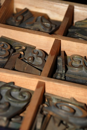 lithograph: Typography workshop: old lead type for printing