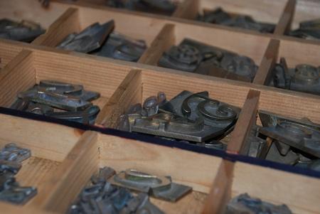 printing block: Typography workshop: old lead type for printing