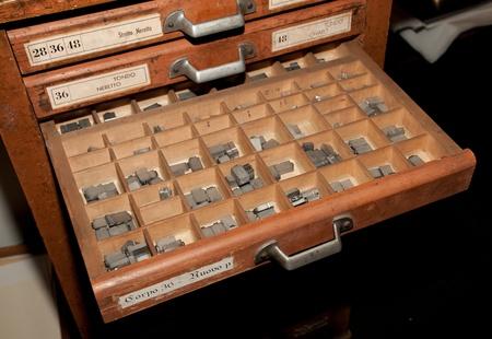 typeset: Lead in wood Stock Photo