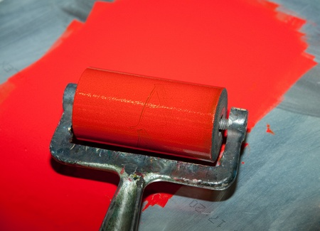printer drawing: roller printing with red ink