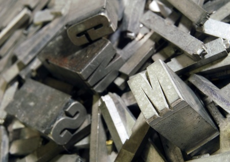 Lead: old letterpress type Stock Photo