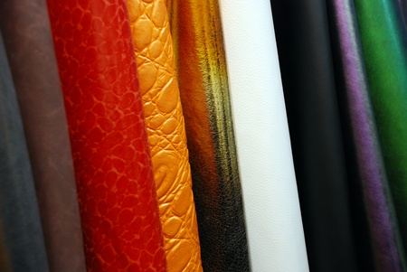 raw materials: The artificial leather produced in Italy is similar to real leather. It is used to produce sofas, handbags, shoes and fashion accessories Stock Photo
