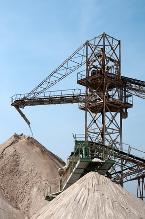 Conveyor belts in a sand quarry