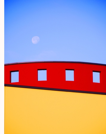 build in: Detail of modern build in primary colours