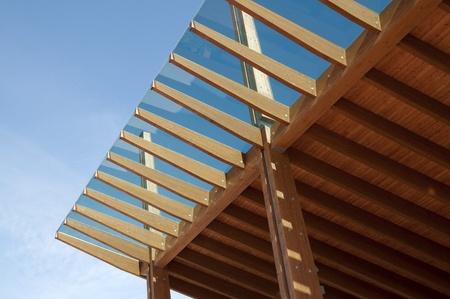 Construction site: glued laminated timber - platform mobile Stock fotó
