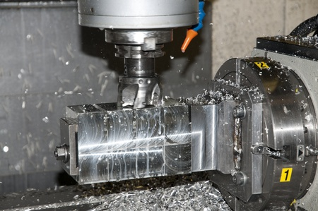 Drilling and milling CNC in workshop