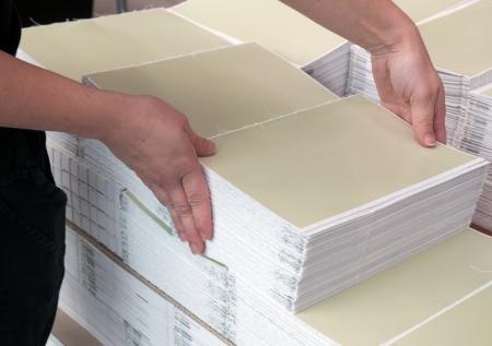 binding: Print shop - Finishing line Stock Photo