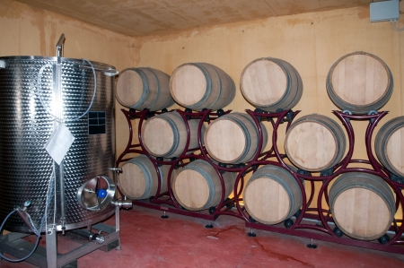 Wine barrel rack (Italy, Franciacorta) photo
