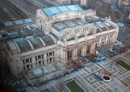 central square: Milano Centrale railway station Editorial