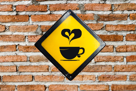 brick sign: Coffee sign on brick wall Stock Photo
