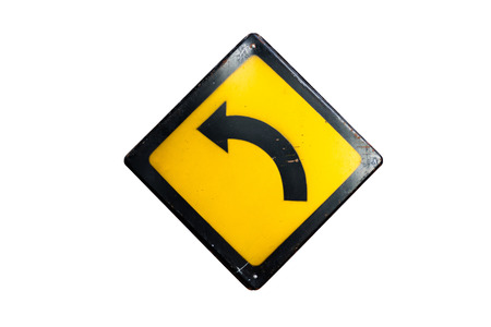 turn left sign: Turn left sign is isolated on white background