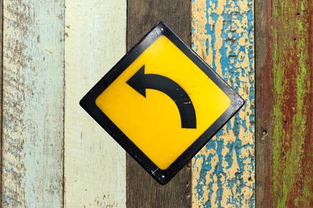turn left sign: Turn left sign Stock Photo