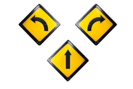 turn left: Straight, turn left and right sign is isolated on white background