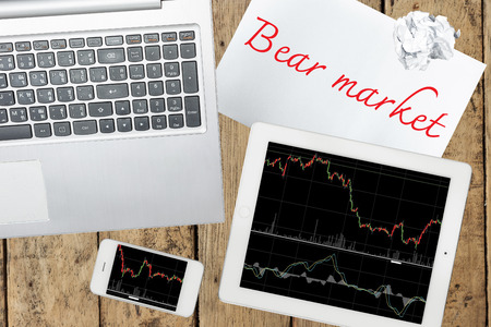 bear market: Smartphone, computer, tablet with graph and paper with bear market on wood table