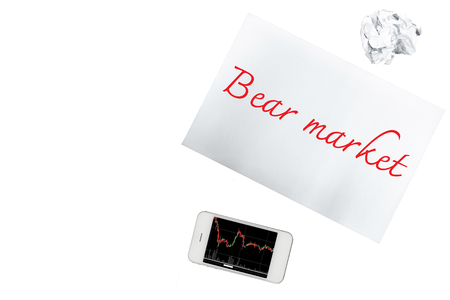 bear market: Smartphone, paper with bear market is isolated on transparent