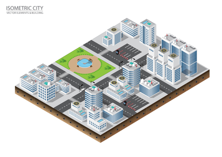 Isometric city plant elements in 3D dimensional projection includes buildings, streets, roads, park and trees. Urban infrastructure of city metropolis.