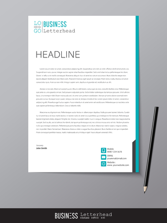 Letterhead design template and mockup minimalist style vector. Design for business or letter layout, brochure, template, newsletter, document or presentation and other. 向量圖像