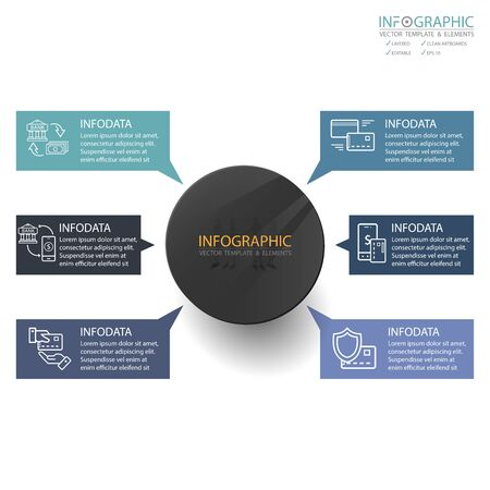 Vector abstract element infographics 6 step. Design for business finance template layout, brochure, workflow, information or presentation and other. Infographics timeline path. Abstract 3D vector.