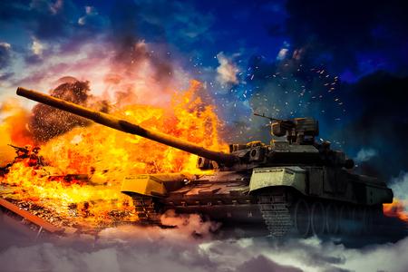 Het leger vernietigde de vijandelijke tank