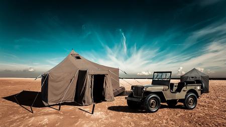 De militaire basis in de woestijn