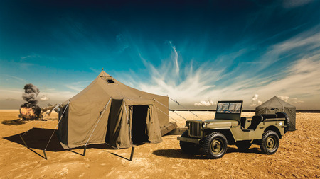 The military base in the desert Stock Photo