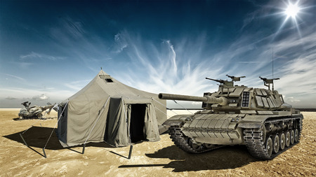 barrel bomb: Tank in the desert camp