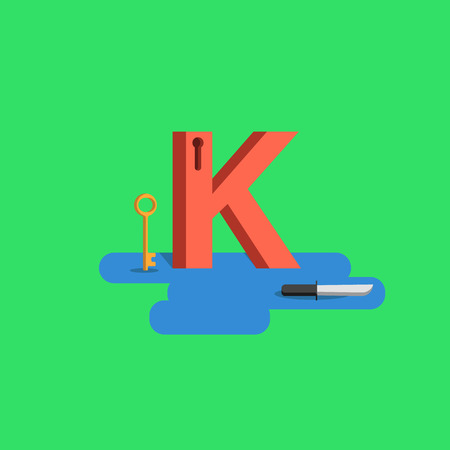 open type font: The letter of the alphabet - K Illustration