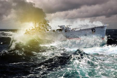 warship: Warship sailing in a stormy sea Stock Photo