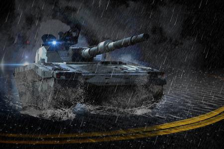 ミッションで、雨の中夜に動いて現代戦闘タンク