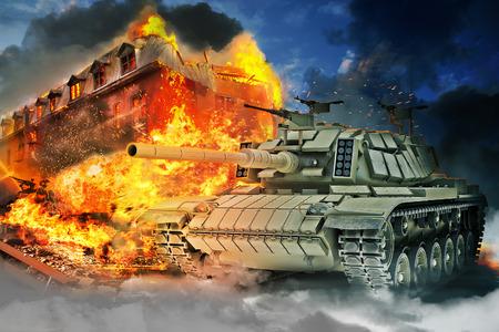 Tank brand in een brandend gebouw Stockfoto