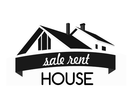 building silhouette: House  design template. Realty theme icon. Building vector silhouette.
