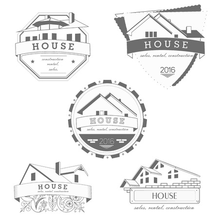 realty: House  gray template. Realty theme icon. Building vector silhouette. Illustration