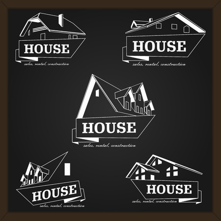 house building: House  template. Realty theme icon. Building vector silhouette. Illustration