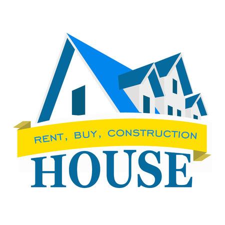 Logo huis. Verhuur, verkoop en de bouw van huizen Stock Illustratie