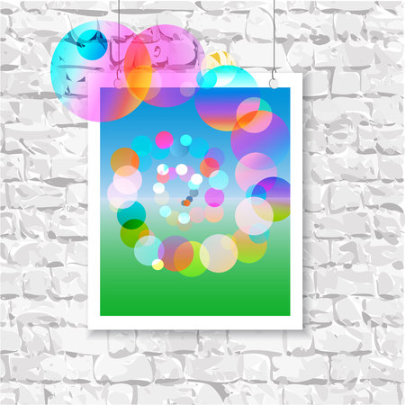 departing: Colorful picture on the wall with the natural background and departing colored balls Illustration