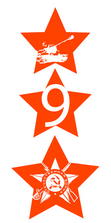 9th: Victory Day. Feast on May 9th. Red stars with Soviet silhouettes calls Illustration
