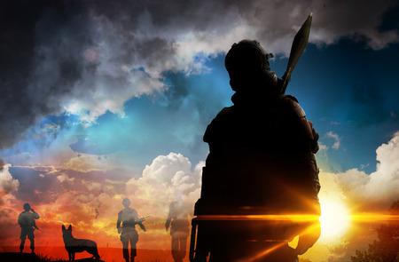 Silhouette of soldier at sunset Reklamní fotografie