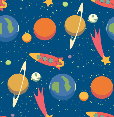 Seamless space pattern. Kid\'s elements for scrap-booking.