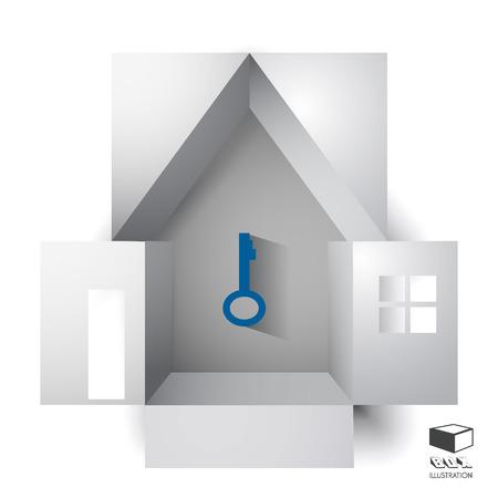 silhouette maison: Boîte de papier d'un immeuble