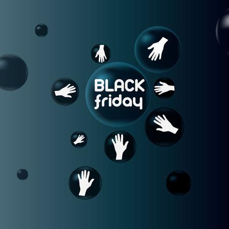 stir: Sale on Black Friday. Black balls hands reach to buy Illustration